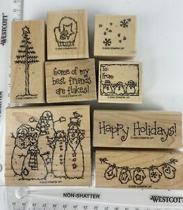 Stampin Up Flaky Friends 8-Piece Wooden Block Rubber Stamp Set Christmas EUC
