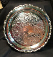 "VINTAGE ONEIDA Georgian Scroll Silverplate Round 12"" Tray , BEAUTIFUL CONDITION!"