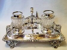 19th Century Elkington & Co Silver-plated Inkstand Double Inkwell Standish 1867