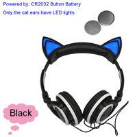 Girl kids foldable wired cosplay cat ear LED Glowing headphone earphone headset