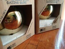 "New listing Gazing globe Stainless Steel Gold lot 2 garden orb mirror ball 6"" shatter proof"