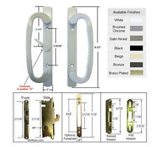 Patio Door Handle Kit with Mortise Lock and Keepers, A-Position, White,Non-Keyed