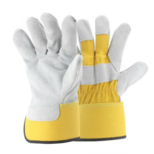 1, 5 or 10 Pairs Canadian Leather Rigger Work Gloves - Heavy Duty - Red Yellow