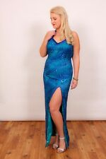 Mermaid blue sequin beaded open back evening/ cocktail gown Precious Formals