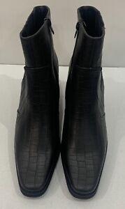 Ladies Size 10 Black Matte Crocodile DOTTI Zip Up Boots Heel- *NEW* RRP $69.95
