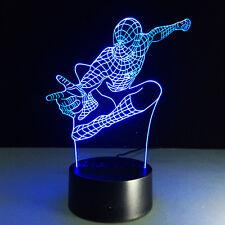 Spiderman Fly 7colour 3D LED Night Light Micro USB Table Desk Lamp