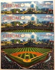 3 CHICAGO CUBS WRIGLEY FIELD BASEBALL STADIUM POSTCARD