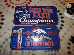 Denver Broncos License plate Lot (2) new vtg Super Bowl XXXII NFL Memorabilia