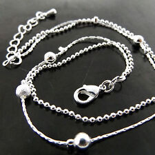 ANKLET GENUINE REAL 925 STERLING SILVER S/F SOLID LADIES SNAKE BEAD DESIGN 25CM