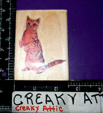 Cat Sitting Up American Shorthair Rubber Stamp Cabana