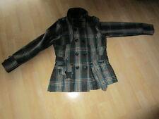 Übergangsjacke Jacke mit Wolle Gr. 38 40 42, petrol grau schwarz weiß kariert