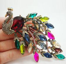 Top Vintage Luxury Peacock Bird  Multi-color Austrian Rhinestone Crystal Brooch