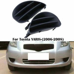 Black Left&Right Side Fog Light Cover For 2007-2008 Toyota Yaris Hatchback BA