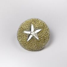 5 × 35mm Round Silver Beaded Crystal Star Shank Button