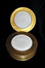 RARE Antique H&C HEINRICH & Co Selb Bavaria GOLD ENCRUSTED DINNER PLATES Set 8