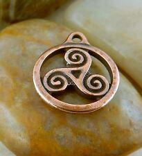 4 TierraCast antique copper 19mm Celtic Triskele drop charm, pendant