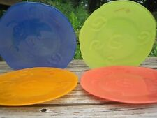 Izabel Lam Glass 4 Salad Plates Scrolls Shells New Stickers Yellow Orange Red