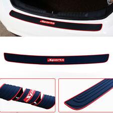 Black Rubber Car Rear Guard Bumper Scratch Protector Cover & Red Sport Logo