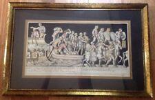 Orig Vtg Color Lithograph Roman Citizen Senators Centurions Military Latin 21x13