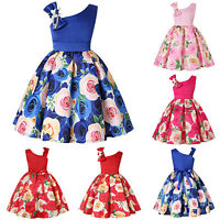 US Pleated Kids Girls Floral Bow Dress Princess Party Birthday Wedding Formal US