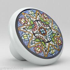 Round Talavera Design Ceramic Knobs Pulls Kitchen Drawer Cabinet Dresser 1199