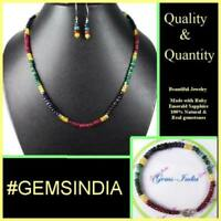 Multi Gem Natural Emerald Ruby Sapphire Necklace Magnificent Rainbow Beads