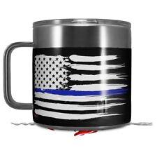Skin Wrap for Yeti Coffee Mug Brushed USA American Flag Blue Line CUP NOT INCLU