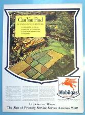 10x14 Original 1943 Mobilgas Ad CAN YOU FIND IN THIS AIRFIELD PICTURE