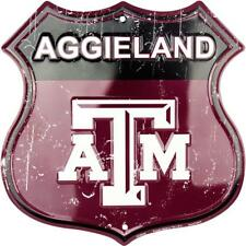 "Texas A&M University Aggies Aggieland 11"" Shield Metal Sign Embossed Home Decor"