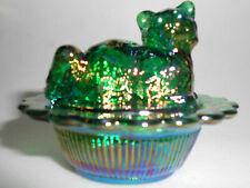 hunter Green carnival glass salt cellar celt cat kitten on nest basket dish dip