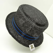 FASHION Straw Women Top Hat Soft Pork Pie Ladies Fedora Stingy | 57cm | Black