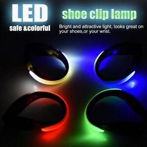 2PCS LED Luminous Shoe Light Up Safety Heel Clips Night Trainers Walk Running