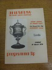 10/03/1974 programma Rugby League: Dewsbury V Leeds [CHALLENGE Cup] (piegato). Co