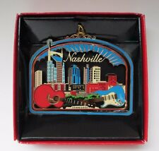 Nashville Skyline Brass Christmas Ornament Tennessee Souvenir Gift Red Box