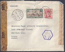 EGYPT US 1943 WAR TIME TRIPLE CENSORED COVER BONDI M SAPORTA OF ALEXDRIA TO NY