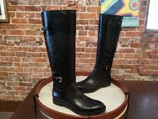 Enzo Angiolini Dark Brown & Black Trim Leather Eero Buckle Riding Boot 8.5 NEW