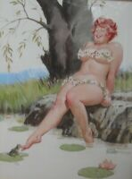 Original Illustration Duane Bryers Pinup Hilda Tickling Toad On Lily Pad Daisies