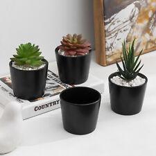 MyGift Set of 4 Mini Cylindrical 3.5 Inch Black Ceramic Flower Planter Pots