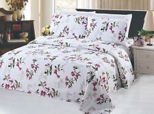Bamboo 3 Pieces Duvet Cover Set, Light Floral, Pink, Green and White, Queen Size