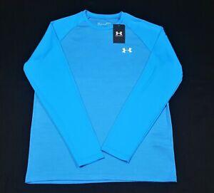 Under Armour Mens Long Sleeve  chest Logo Velocity Shirt 1327970-406 Blue