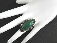 Vintage Mexico Ring Southwestern Ornate Solid 925 Sterling Silver Glass Stone 8