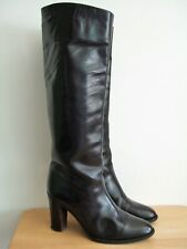 Bruno Magli vtg pull on black leather riding style boots size UK 6.5 (40)