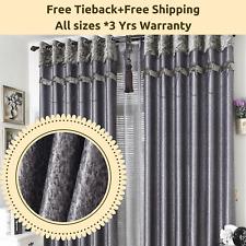 Blockout Bedroom Door Curtain Fabric Designed Drapes Grey Gray Sheer Eyelets Rod