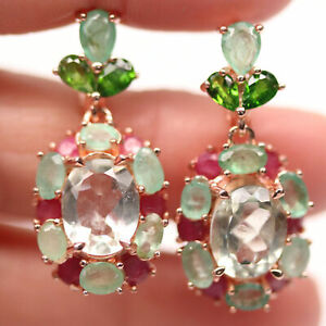NATURAL GREEN AMETHYST, CHROME DIOPSIDE, EMERALD & RUBY 925 SILVER EARRINGS