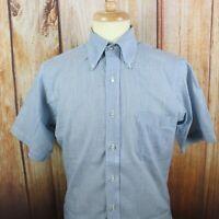 Men's Cable Car Clothiers Sanforized Blue Striped Button Shirt 15 Medium Vintage