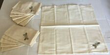 12 Pcs Embroidered Embroidery Dinner Cloth Napkin Beige Grey Bee Butterfly