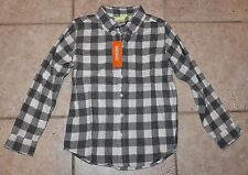 NWT Gymboree Boys Medium Size 7/8 Grey and White Button Down Flannel Shirt