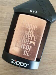 Zippo Marlboro Copper Lighter - Come To Where The Flavor Is - RARE