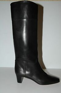 $1695 New Christian Louboutin Black Leather CAVALIERE 45 Knee High Boots 40.5 .