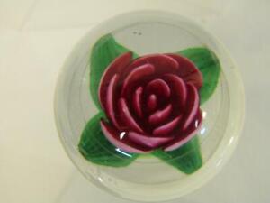 SMALL/MINI OLD CHARLES KAZIUN JR. ART GLASS PAPERWEIGHT - RED CRIMP ROSE